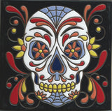 Day of the Dead skull Mexican tile