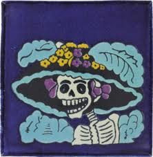 Day of the Dead hand-painted Mexican tile mural