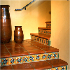 ... Use A Single Pattern Of Mexican Tile On All The Risers, While On The  Third Example, Two Different Patterns Are Alternated On Every Other Step.