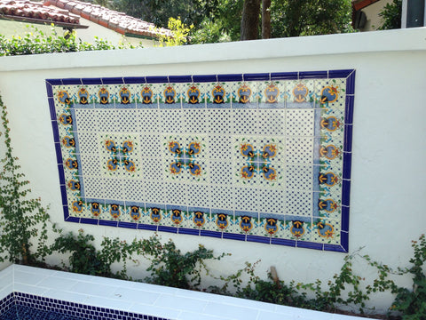 Patio Wall With Mexican Tile Decorative Mural Mexican