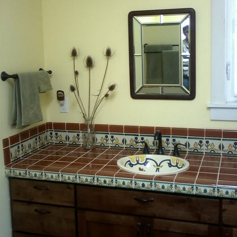Bathroom countertop and vanity using terra cotta mexican for Tile countertops bathroom ideas