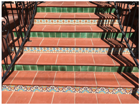 mexican tile designs stair risers saltillo tile
