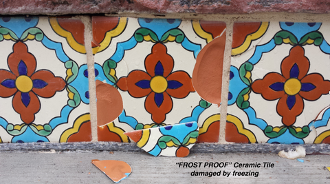 example of cracked tile that is not frost proof