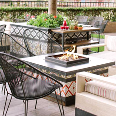 cement tile installation idea outdoor fireplace mexican tile designs