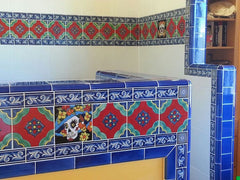 Mexican tile bathroom shower accents blue
