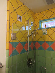 Mexican tile bathroom shower yellow and green