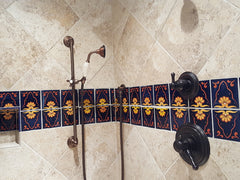 Mexican tile bathroom shower accents