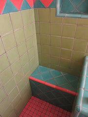 Mexican tile bathroom shower pink colorful