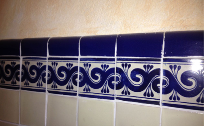 Mexican Tile chair rail