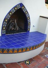 outdoor fireplace mexican tile