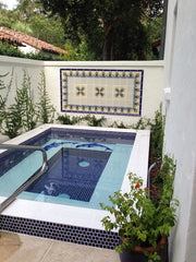 Mexican tile outdoor fountain blue and white