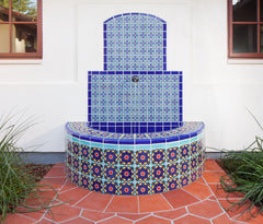 Mexican tile outdoor fountain blue curved