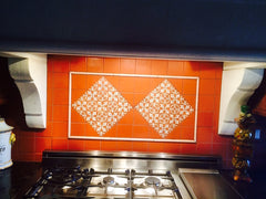 Mexican Tile Backsplash over stovetop