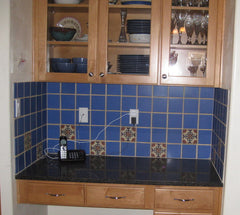 Mexican Tile Backsplash in kitchen cubby