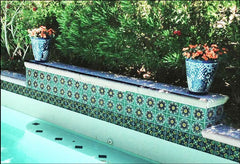 Mexican tile outdoor pool decorative