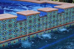 Mexican tile outdoor pool alternating heights