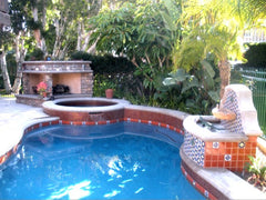 Mexican tile outdoor pool terra cotta