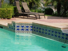 Mexican tile outdoor pool trim