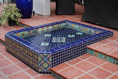 Mexican tile outdoor hot tub