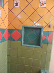 Mexican tile bathroom shower green and peach