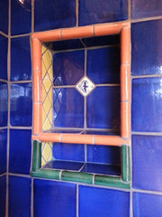 Mexican tile bathroom shower inset
