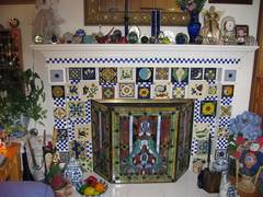 mexican tile fireplace mantle
