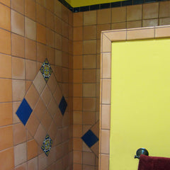 Mexican tile bathroom shower clay color