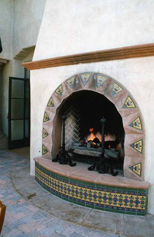 Images pictures and ideas for mexican style fireplaces for Mediterranean fireplace designs