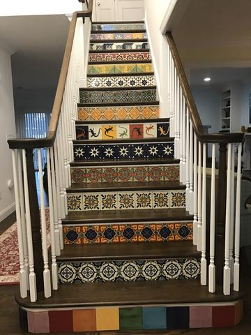 mexican tile indoor stair risers