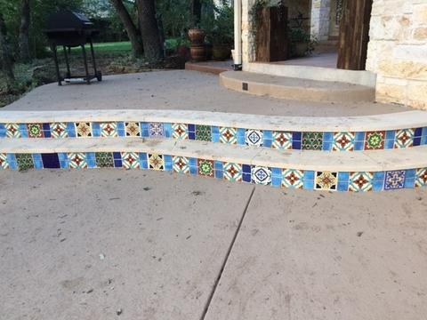 mexican tile pool deck