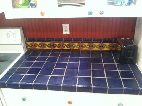 mexican tile kitchen counter