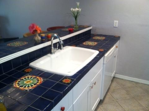 mexican tile countertop kitchen