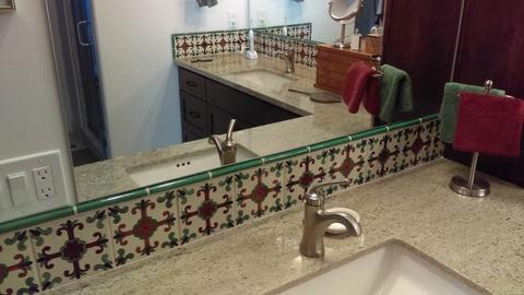 mexican tile backsplash bathroom