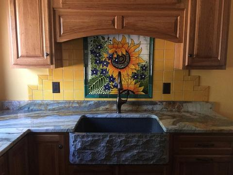 mexican tile mural sunflower kitchen