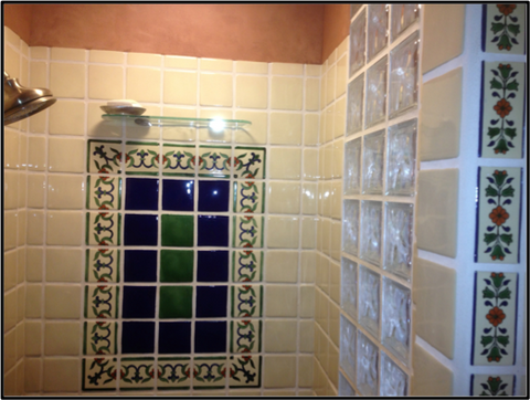 Shower Surround Using Off White Mexican Field Tile And