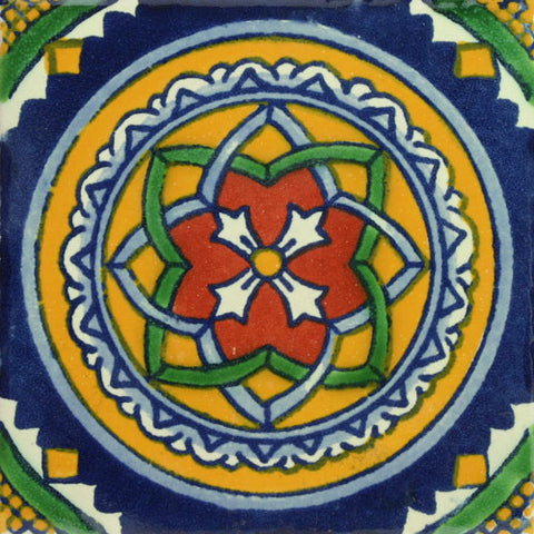 Traditional Decorative Mexican tile blue circle