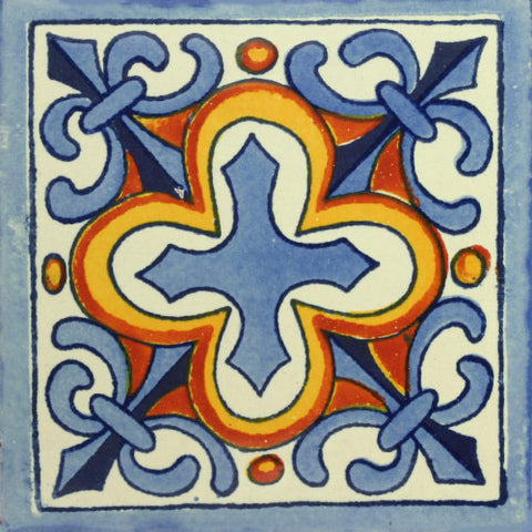 Traditional Mexican Tile - Flor de Liz