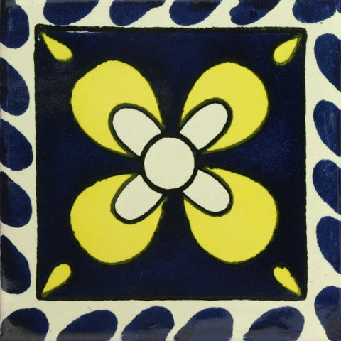 Traditional Decorative Mexican tile yellow  flower