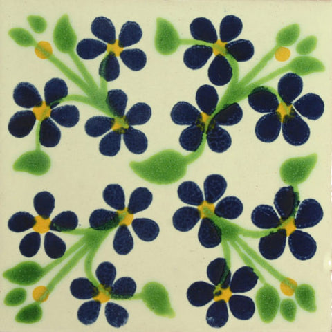 Traditional Decorative Mexican tile violet flowers