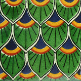 Traditional Decorative Mexican Tile peacock feathers