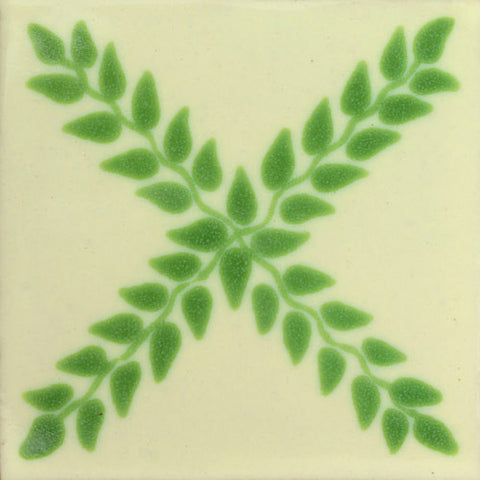 Traditional Decorative Mexican Tile- green leaves