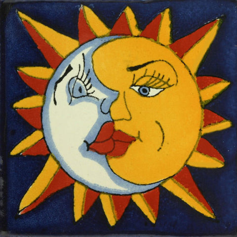 Traditional Decorative Mexican Tile - sun and moon