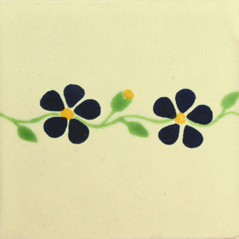 Traditional Decorative Mexican Tile - violet flower