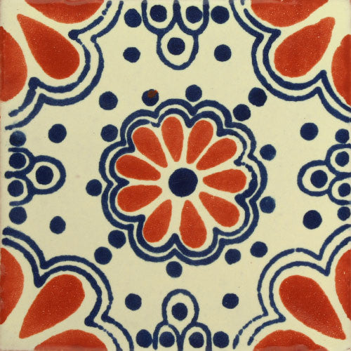 Traditional Mexican Tile Lace Azul Terra Cota Mexican
