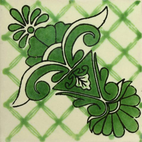 Traditional Mexican Decorative green tile