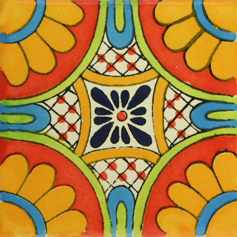 Traditional orange Decorative Mexican tile