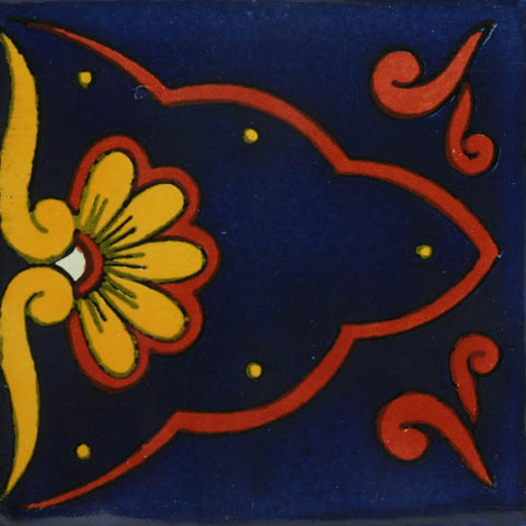 Mexican Tile-Border cobalt blue and terra cotta