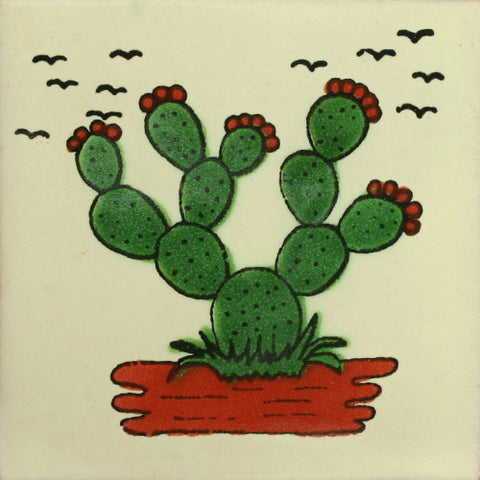Traditional Mexican Decorative cactus tile