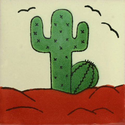 Traditional Southwest Decorative Mexican Tile -Cactus
