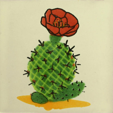 Traditional Decorative Mexican tile cactus flower